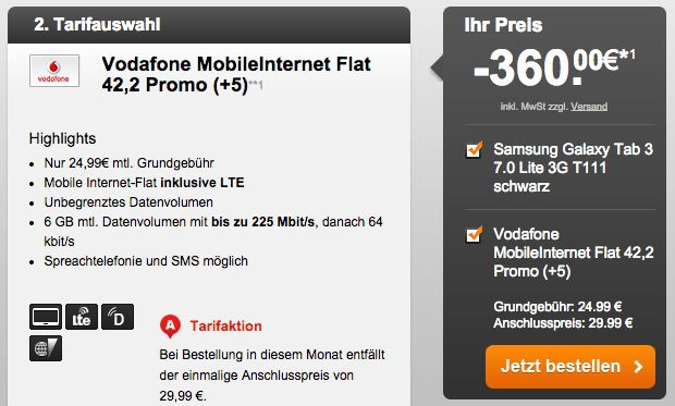 Vodafone Mobile Internet Flat mit 6GB LTE inkl. Tablet – z.b. Galaxy Tab S 10.5 LTE ohne Zuzahlung   Update!
