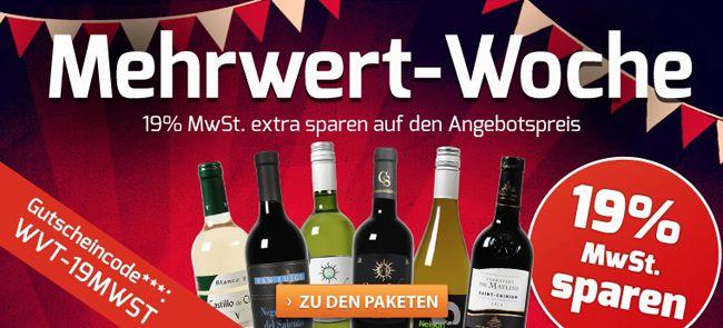 20 Weinpakete stark reduziert + 19% MwSt. geschenkt bei Weinvorteil