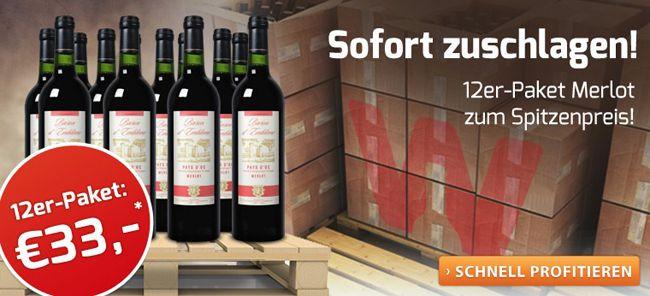 12er Paket Baron dEmblème Merlot Wein für 29,50€   nur 2,46€ pro Flasche!