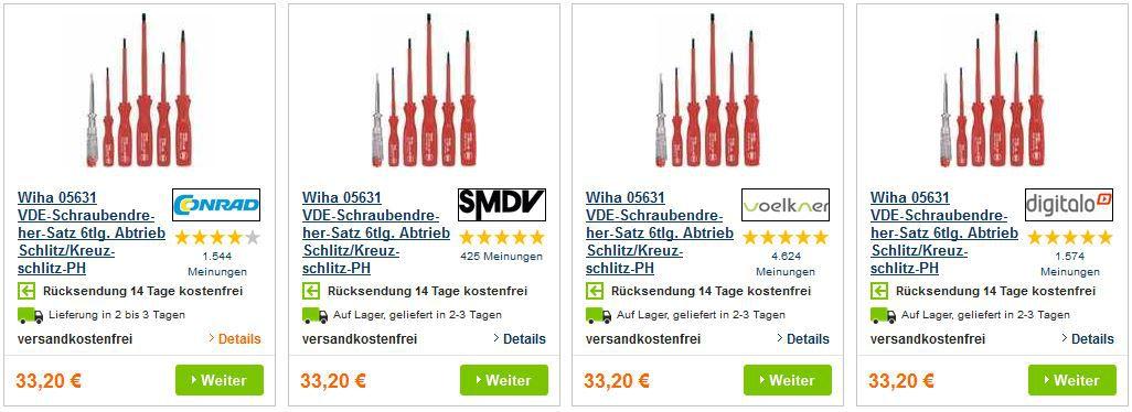 Wiha1 Wiha 05631   VDE Schraubendreher Satz 6tlg. mit Schlitz/Kreuzschlitz für nur 9,99€ inkl. Versand