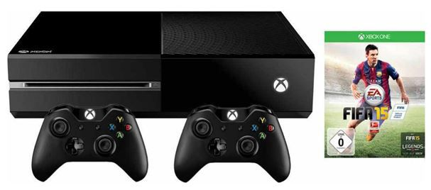 Xbox One (ohne Kinect) 500 GB schwarz + FIFA 15 (Full Game Download) + 2 Controller Konsolen Set für 324,99€
