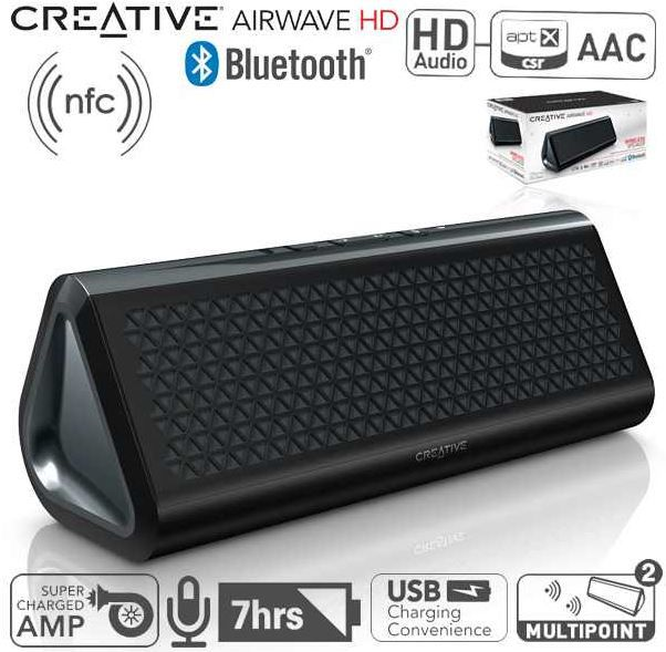 Creative Airwave HD Tragbarer Bluetooth Lautsprecher mit NFC Funktion für 52,95€