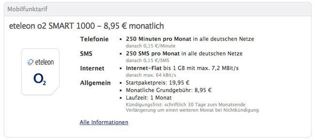 eteleon SMART 1000 im o2 Netz (250 Minuten, 250 SMS, 1GB Internet) für 8,95€ monatlich