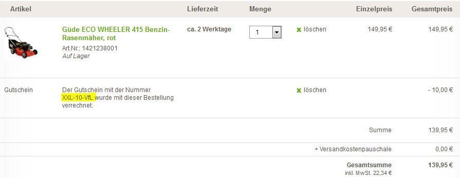 Güde ECO WHEELER 415 Benzin Rasenmäher für 139€   dank 10€ XXL Gartengutschein
