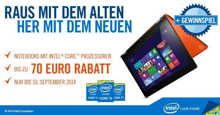 intel Lenovo IdeaPad G50 70   15 Notebook mit i7 4510U CPU für 419€ dank Cyberport intel Rabatt Aktion