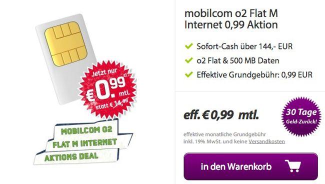 mobilcom o2 Flat M Internet (o2 + Festnetz Flat, 500MB Internet) für effektive 0,99€ monatlich