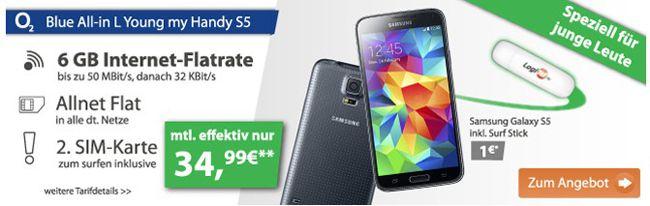 o2 Blue All in L junge Leute 6GB LTE Flat inkl. Galaxy S5 für 34,99€ – mit 1,5GB für 24,99€