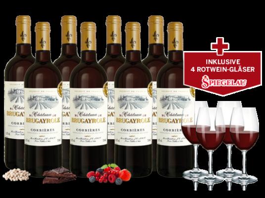 Hammer! 8 Flaschen Château Brugayrole + 4 Gläser für 39,90€