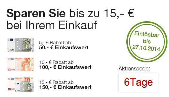 6 Tage Rennen  6 Tage Rennen bei Galeria Kaufhof   bis zu 15€ auf ausgewählte Produkte sparen