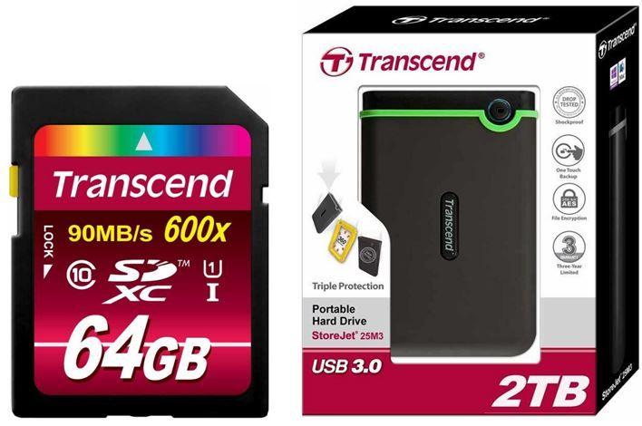 Transcend   2TB StoreJet M3 Festplatte für 94,90€   64GB Transcend Ultimate Speed SDXC Class 10 UHS 1 für 33,90€