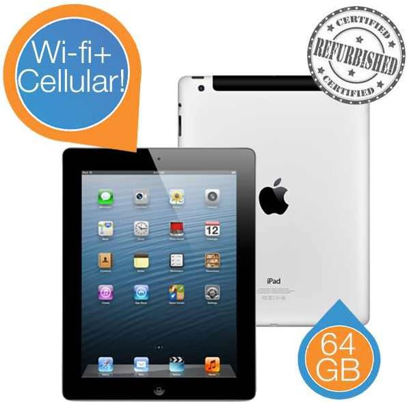 Apple iPad 4, 128GB Wi Fi + Cellular   von Apple Refurbished für 450,90€ oder mit 32GB für 385,90€