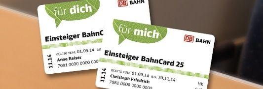 Bahncard Bahncard 25 und 50 mit über 50% Rabatt für Schüler, Studenten, Rentner und Behinderte