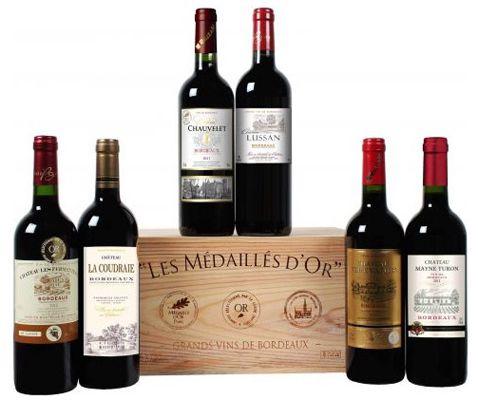Goldprämierte Bordeauxkiste mit 6 verschiedenen Weinen für 31,49€