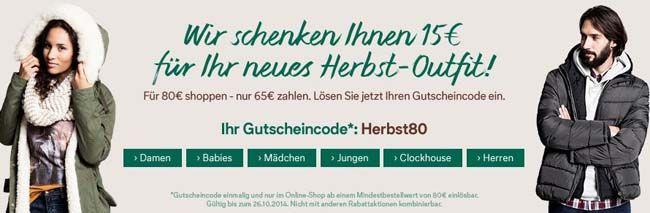 C&A Herbstrabatt: 15€ Rabatt ab einem Mindestbestellwert von 80€