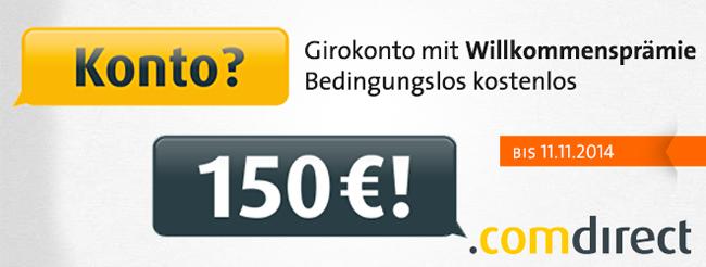 Comdirect 150€ Prämie für ein kostenloses Girokonto (inkl. Gratis VISA) bei Comdirect