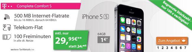 Telekom Complete Comfort S + iPhone 5S 64GB für 29,95€ monatlich