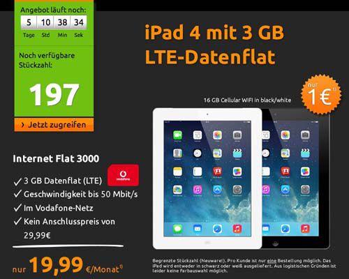 Crash Tarife1 3GB Vodafone LTE Datenflat + iPad 4 16GB Cellular für 19,99€ monatlich
