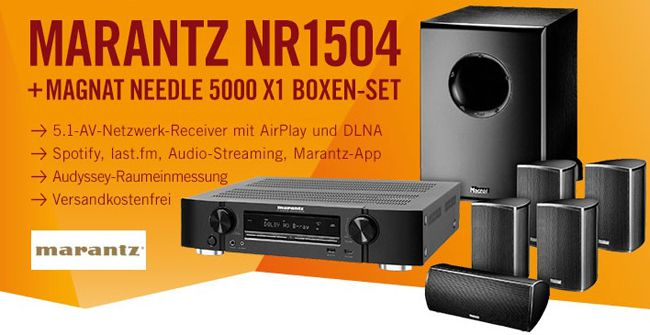 Marantz NR1504 5.1 AV Netzwerk Receiver mit Magnat Needle 5000 X1 5.1 Set für 499€
