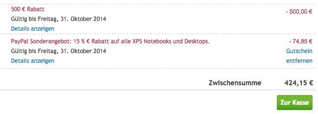 Dell Kasse Dell XPS 11   11 Zoll Ultrabook mit 128GB oder 256GB ab 424€