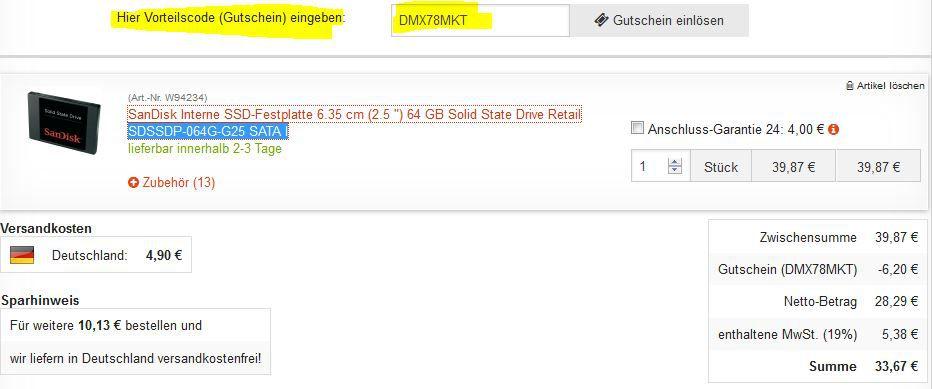 Sandisk 64GB SSD ab 33,67€ dank neuem 6,20€ Gutschein bei Digitalo!