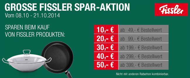Fissler Große Fissler Sparaktion mit bis zu 50€ Rabatt + 12% Gutschein