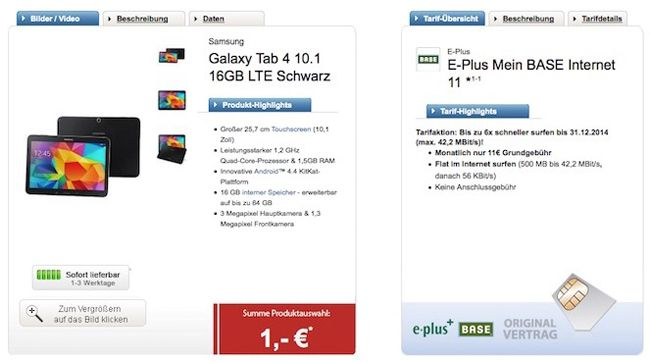 Galaxy Tab 4 10.1 Galaxy Tab 4 10.1 LTE 16GB + 500MB Base Internet Flat für 11€ monatlich