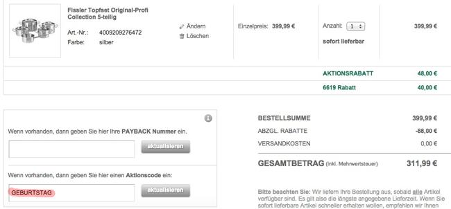 Galeria Rabatt Große Fissler Sparaktion mit bis zu 50€ Rabatt + 12% Gutschein