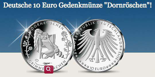 Deutsche 10€ Gedenkmünze Dornröschen für 5,95€   offizielles Zahlungsmittel mit 4,05€ Gewinn!