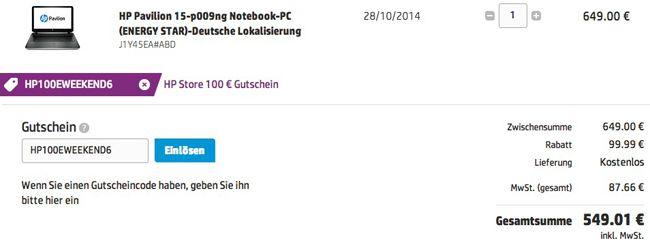 HP Gutschein HP Pavilion 15 p009ng   15 Zoll Notebook (i5 4210U, 1TB HDD, 8GB Ram, GeForce 840M 2GB) für 549€