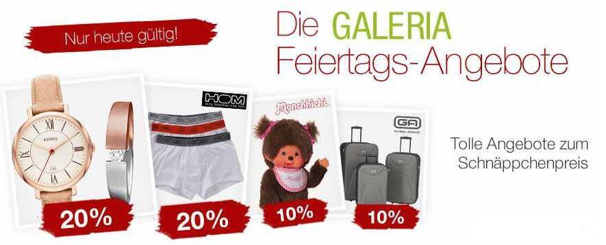 20% Rabatt auf auf tolle Uhren und Schmuckmarken wie Fossil und mehr bei den Galeria Kaufhof Feiertagsangeboten