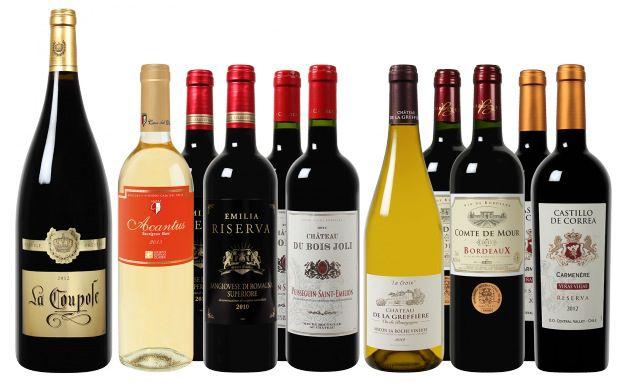 Kennenlern Paket mit 6 verschiedene Weine (10 Flaschen) + 1 Flasche Magnum Flasche La Coupole Prestige für 65€