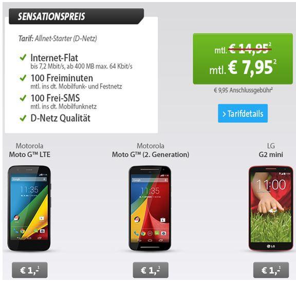 LG G2 Motorola G 2. Gen Smartphone + Allnet Starter (D Netz) für 7,95€ monatl.