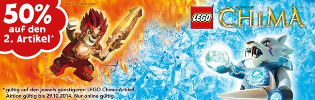 Lego Chima 50% Rabatt auf den zweiten Lego Chima Artikel bei ToysRUs