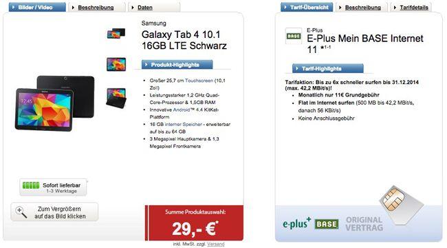 Logitel Base 500 Galaxy Tab 4 10.1 LTE 16GB + 500MB Base Internet Flat für 11€ monatlich