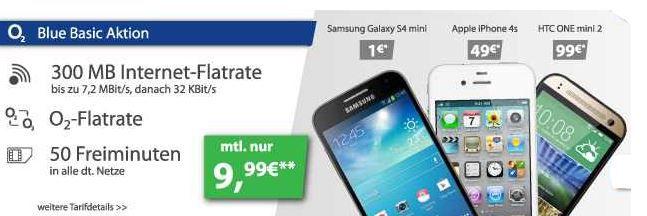 Logitel  Samsung Galaxy S4 Mini + o2 Blue Basic mit 50 Freiminuten und  200 Frei SMS + 300MB in alle dt. Netze für 9,99€ monatl.