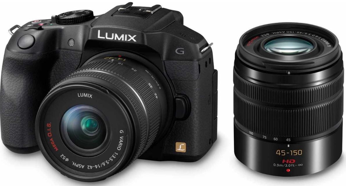 Lumix Panasonic Lumix DMC G6   16MP Systemkamera mit 14 42 mm + 45 150 mm Objektiv für 542,29€