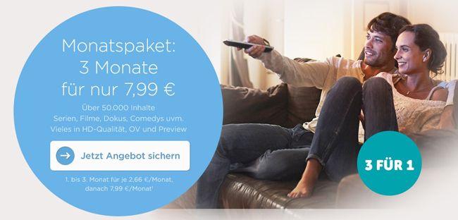 3 Monate maxdome für 7,99€   pro Monat nur 2,66€ mit 3 Monate Mindestlaufzeit
