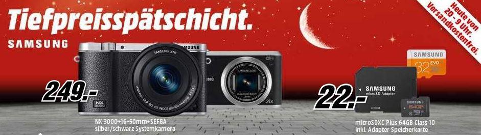SAMSUNG NX 3000 Digicam + 16 50mm Objektiv + SEF8A Blitz für 249 bei der MediaMarkt Tiefpreisspätschicht