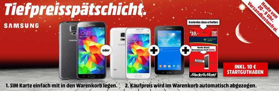 MediaMarkt Samsung Samsung Galaxy S5 16GB LTE (schwarz) + Samsung Galaxy Tab 3 7.0 Lite für 444€ bei MediaMarkt Tiefpreisspätschicht