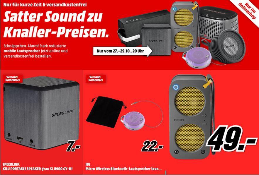 Speedlink Xilu für 7€ inkl. Versand und andere günstige mobile Lautsprecher @MediaMarkt