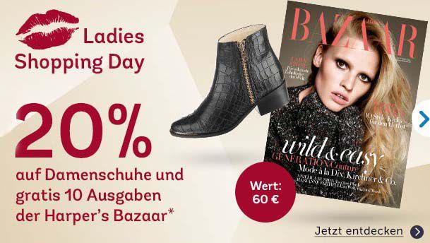 20% Rabatt auf Damenschuhe bei Mirapodo + 10 gratis Ausgaben von Harpers Bazaar oder 15% Rabatt auf Herrenschuhe