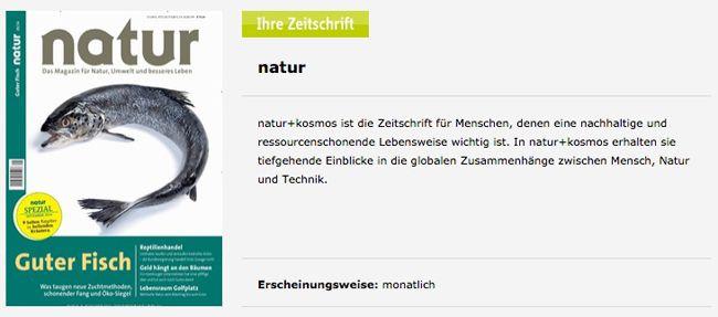 Natur Zeitschrift Jahresabo der Zeitschrift Natur für 0,80€ dank 70€ Bargeldprämie