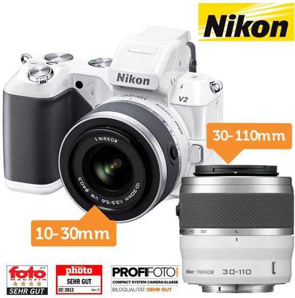 Nikon 1 V2 Nikon 1 V2   inkl. 10 30mm + 30 110mm Objektiv im Kit für 455,90€