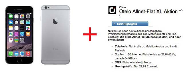 Otelo Allnet Flat XL (Telefon/SMS Flat, 1GB UMTS) + Apple iPhone 6 16GB für 34,12€ monatlich   Update!