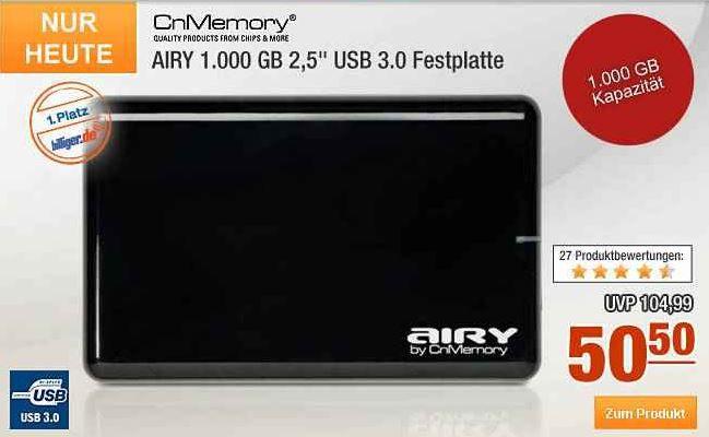 CnMemory AIRY   1TB externe 2,5 USB 3.0 Festplatte für 50,50€ bei der 8% Plus.de Rabatt Aktion