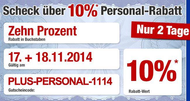 Plus2 10% Rabatt im Plus Online Shop auf (fast) alles