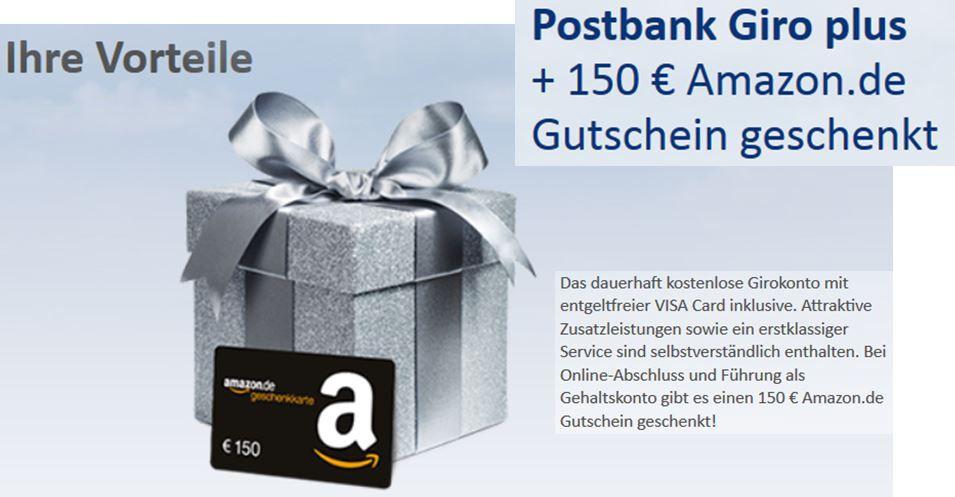 Postbank kostenloses Postbank Gehalts Girokonto abschliessen und 150€ Amazon Gutschein gratis   Update