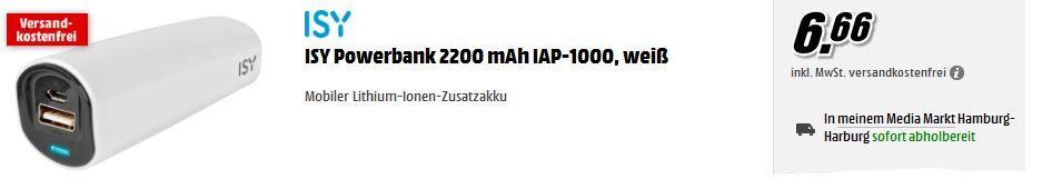 ISY IAP 1000   Powerbank mit 2200 mAh für 6,66€ inkl. Versand