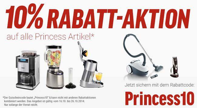 10% Rabatt auf Princess Produkte bei Notebooksbilliger   z.B. Princess Hot Dog Maker für 36€ statt 52€