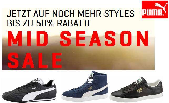 PUMA Mid Season Sale mit bis zu 50% Rabatt auf ausgewählte Styles + 31% Halloween Gutschein